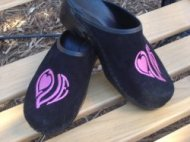 LOVE MONOGRAM BLACK SUEDE CLOGS