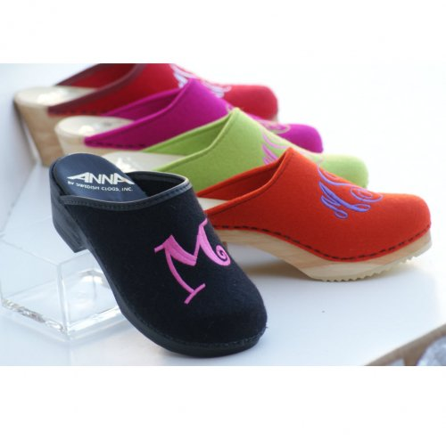 MONOGRAMMED WOOL CLOGS