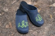 MONOGRAMMED DENIM LEATHER CLOGS