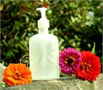 LIQUID SOAP FROSTED APOTHOCARY BOTTLE w SINGLE INITIAL