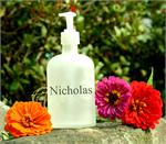 LIQUID SOAP FROSTED APOTHOCARY BOTTLE w NAME/TEXT