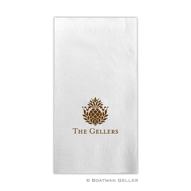 PERSONALIZED PINEAPPLE RIBBON GUEST TOWELS