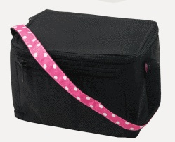 BLACK LUNCH BAG WITH PINK POLKA DOTS