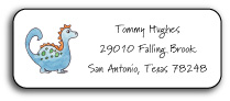 BLUE DINOSAUR ADDRESS LABEL