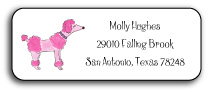 PINK POODLE ADDRESS LABEL