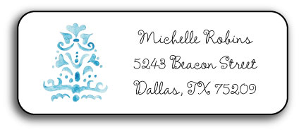 BLUE DAMASK ADDRESS LABEL