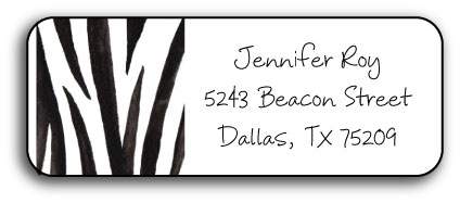 WILD ZEBRA ADDRESS LABEL