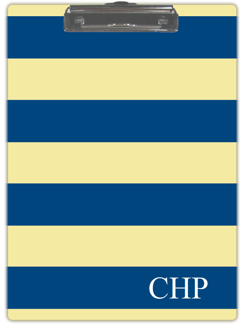NAVY & YELLOW STRIPE CLIPBOARD