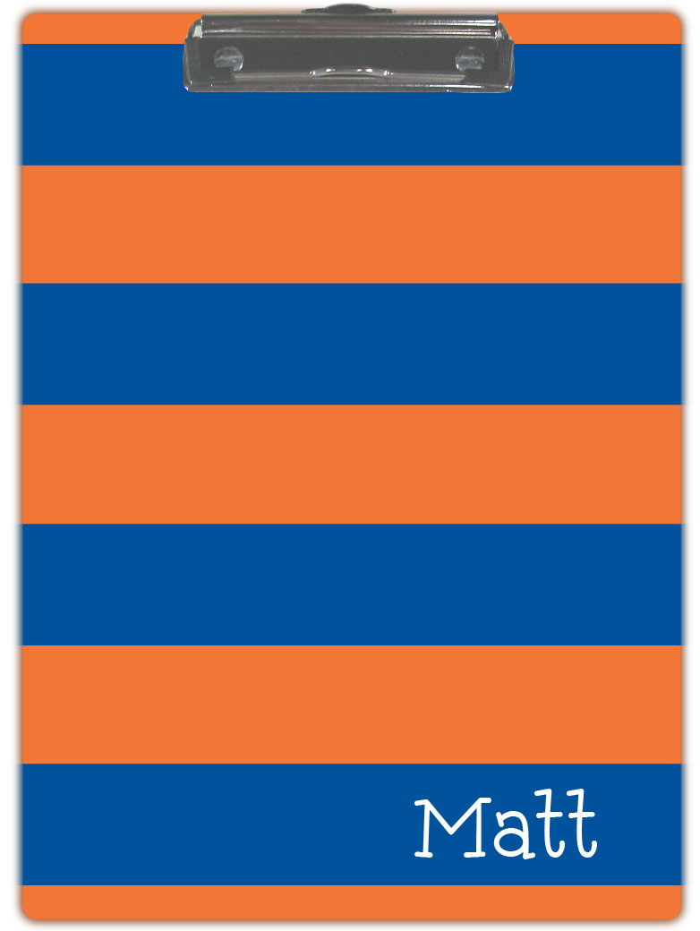 BLUE & ORANGE STRIPE CLIPBOARD