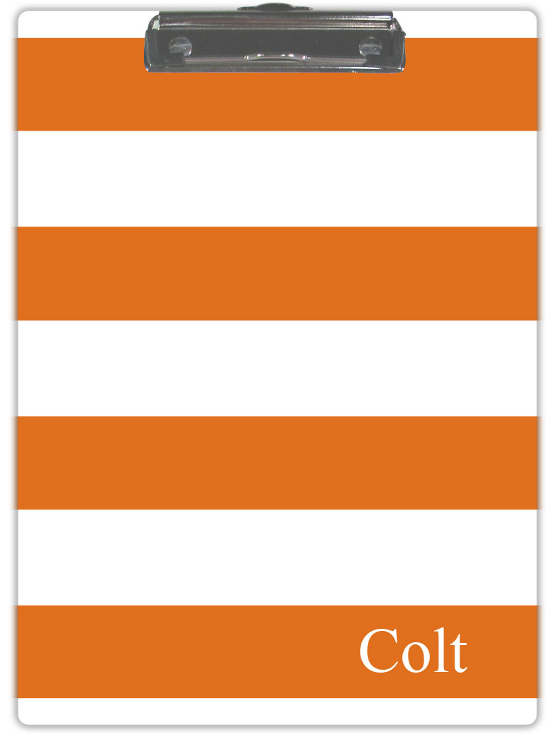 ORANGE & WHITE STRIPE CLIPBOARD