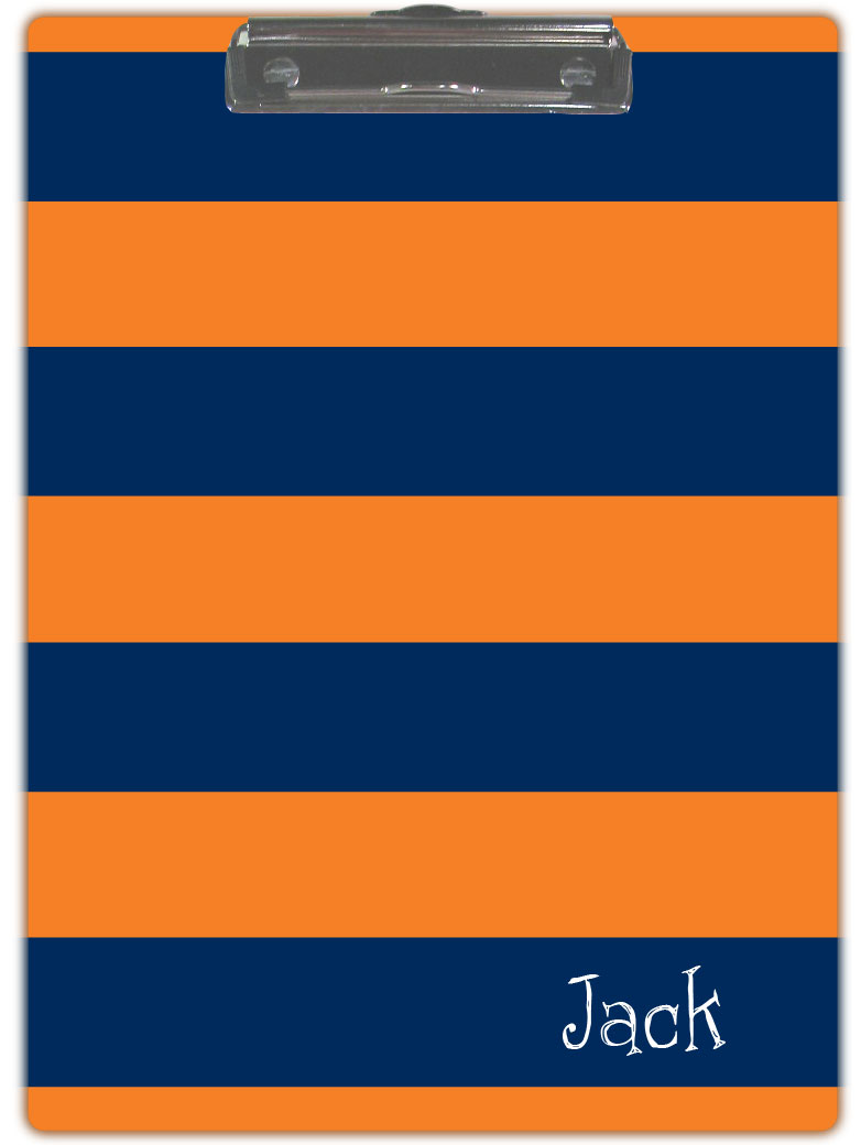 NAVY & ORANGE STRIPE CLIPBOARD