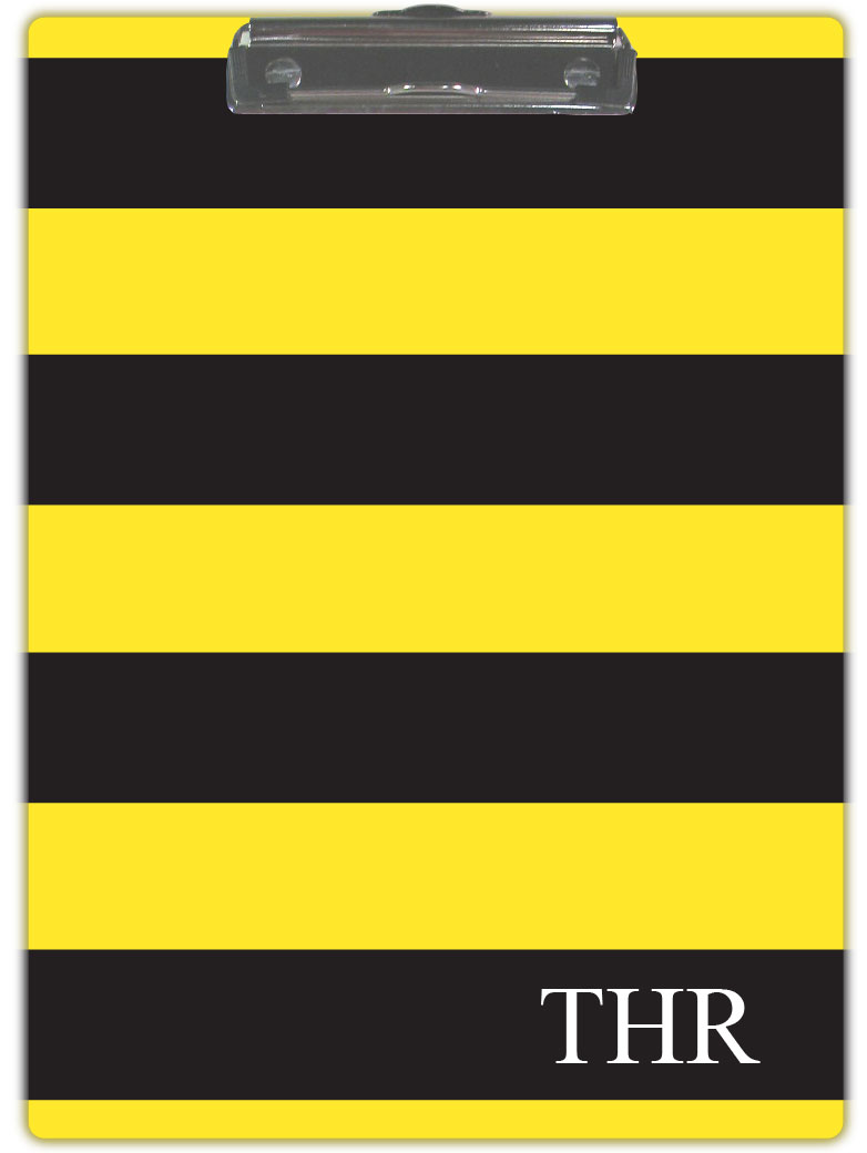 BLACK & YELLOW STRIPE CLIPBOARD
