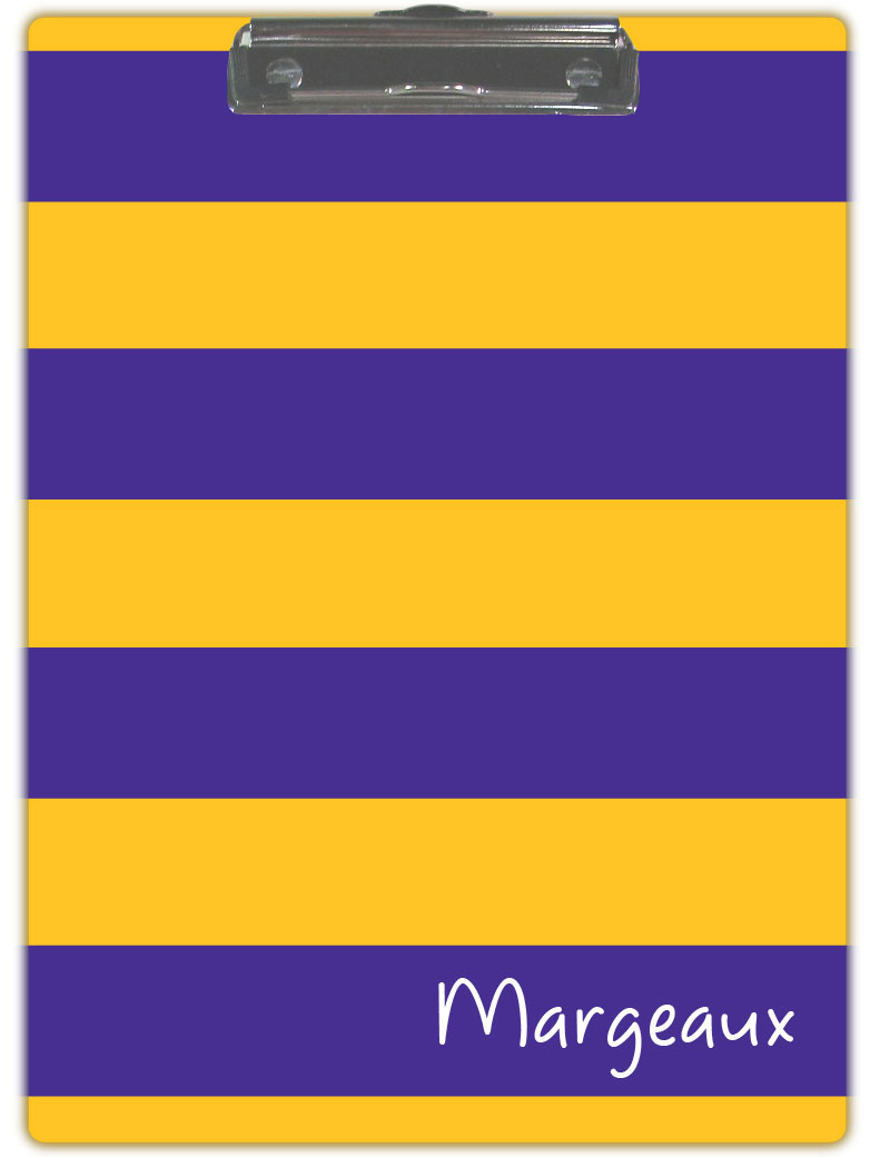 GOLD & PURPLE STRIPE CLIPBOARD
