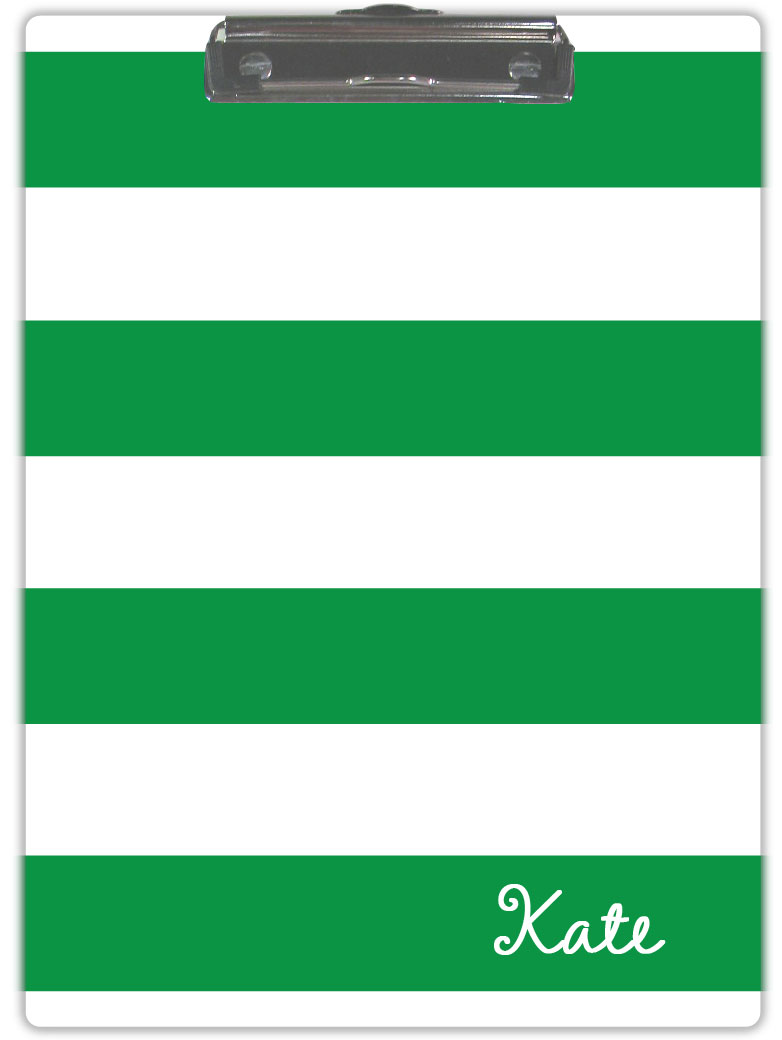 GREEN & WHITE STRIPE CLIPBOARD