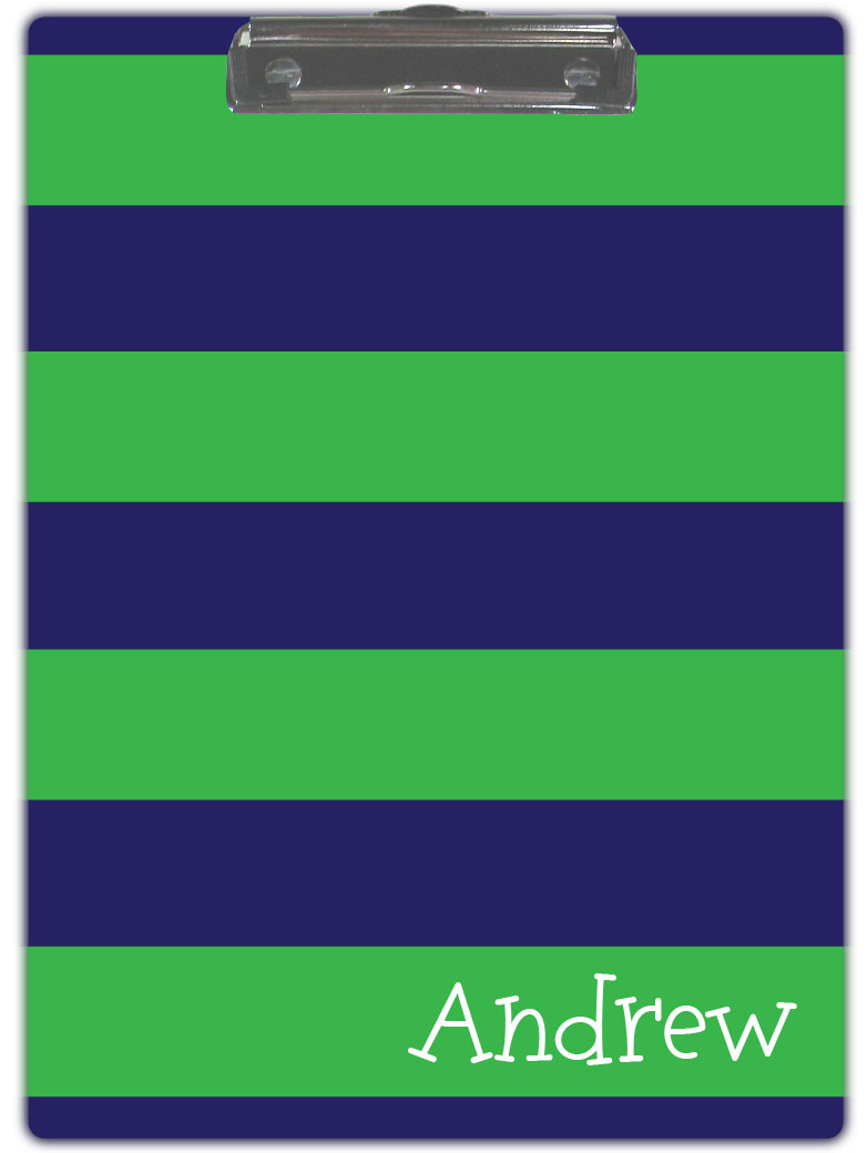 BLUE & GREEN STRIPE CLIPBOARD