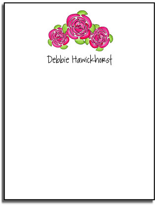 PINK PEONIES FLAT NOTE CARDS