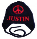 PEACE SIGN HAT w EARFLAPS