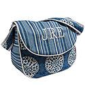 MEDALLIONS BLUE MESSENGER PERSONALIZED DIAPER BAG
