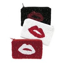 BEADED LIPS CHANGE PURSE