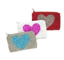 BEADED HEART CHANGE PURSE
