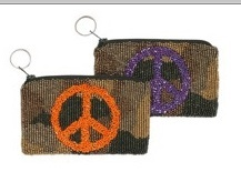 BEADED CAMO PEACE KEYCHAIN