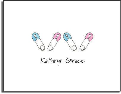 DIAPER PIN FOLDED NOTE CARDS