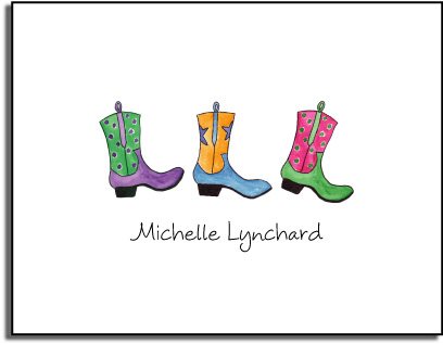 COWGIRL BOOTS FOLDED NOTE CARDS