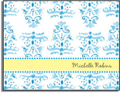 BLUE DAMASK FOLDED NOTE CARDS