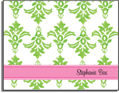 GREEN DAMASK FOLDED NOTE CARDS