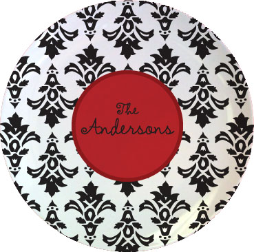 BLACK DAMASK TABLETOP PLATE