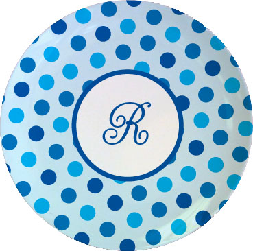 BLUE DOTS TABLETOP PLATE
