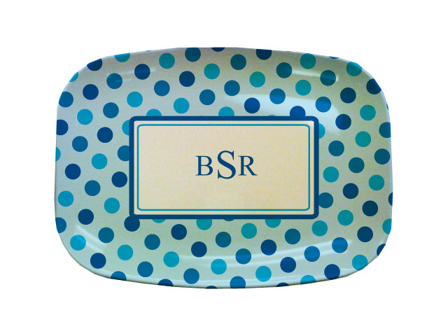 BLUE DOTS TABLETOP PLATTER