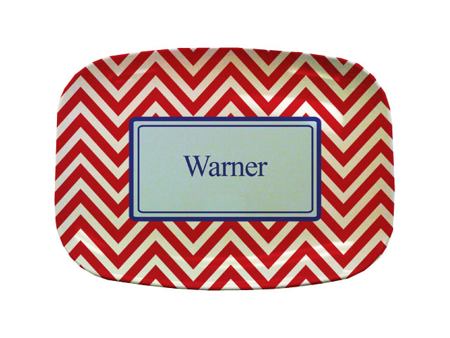 RED CHEVRON TABLETOP PLATTER