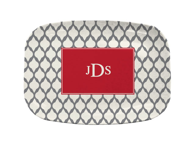 GREY LATTICE TABLETOP PLATTER
