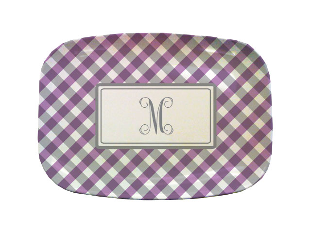PURPLE GINGHAM TABLETOP PLATTER