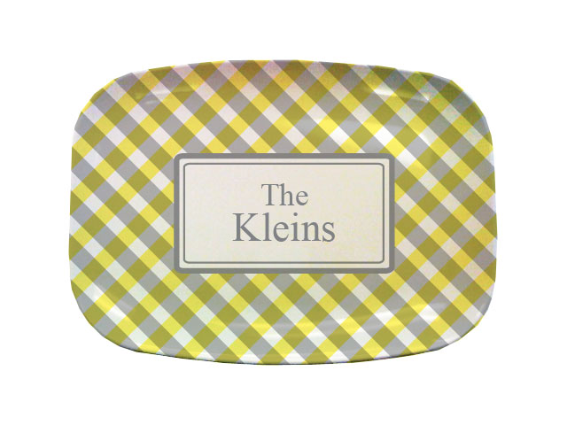 YELLOW GINGHAM TABLETOP PLATTER