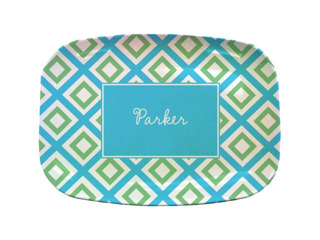 GEO BLUE TABLETOP PLATTER