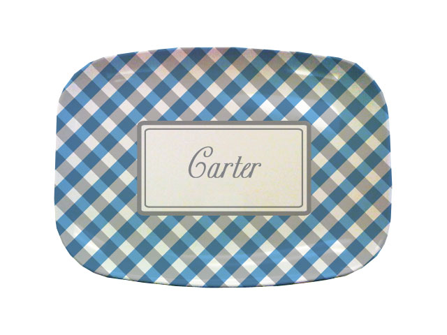 BLUE GINGHAM TABLETOP PLATTER