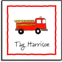 FIRETRUCK VINYL SQUARE LABEL