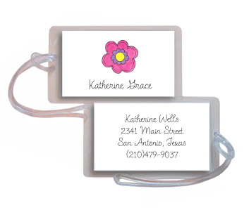 PINK DAISY LUGGAGE TAG
