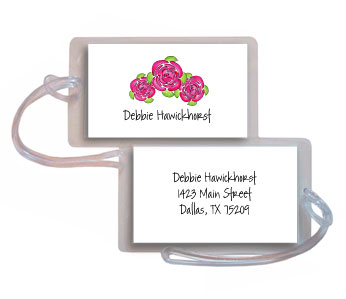 PINK PEONIES LUGGAGE TAG