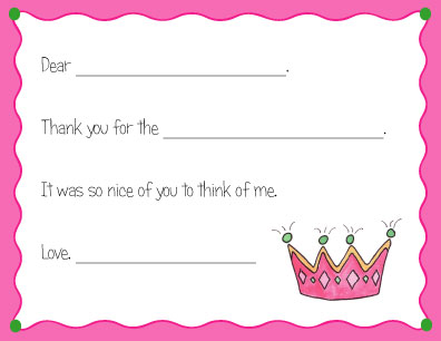 PRINCESS FILL IN THANK YOU NOTES
