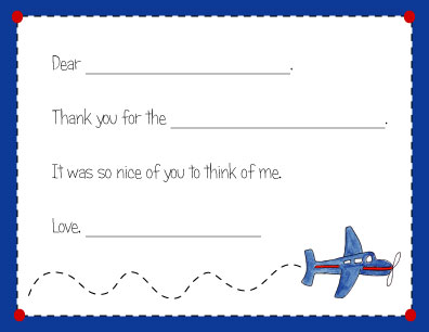 AIRPLANE FILL IN THANK YOU NOTES