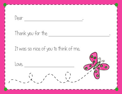 BUTTERFLY FILL IN THANK YOU NOTES
