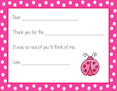 LADYBUG FILL IN THANK YOU NOTES