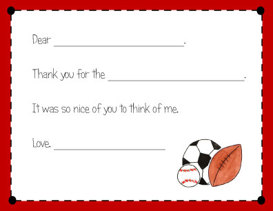 SPORTS FAN FILL IN THANK YOU NOTES