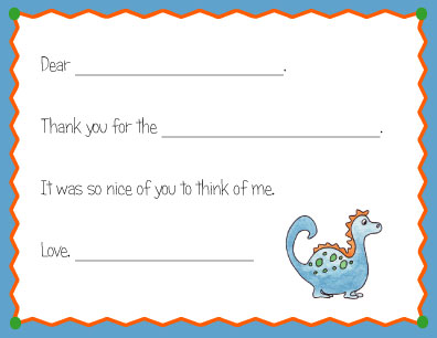 BLUE DINOSAUR FILL IN THANK YOU NOTES