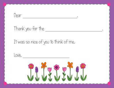 FLOWERS FILL IN THANK YOU NOTES