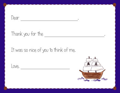 PIRATEY FILL IN THANK YOU NOTES
