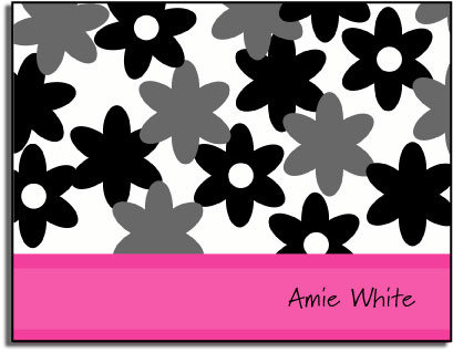 PINK FLOWERS FOLDED NOTE CARDS